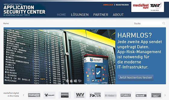 Screenshot der Startseite des neuen Webportals www.appsecuritycenter.com